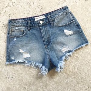Toast Jeans High Rise Shorts Distressed Denim